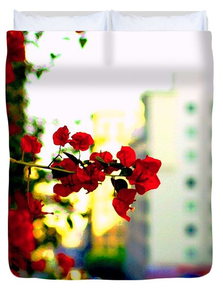 Duvet Cover featuring the photograph Red Flowers Downtown by Matt Harang