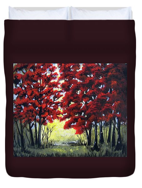 Red Forest Duvet Cover by Suzanne Theis