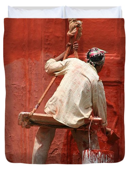 Red Fort Painter Duvet Cover by Nola Lee Kelsey