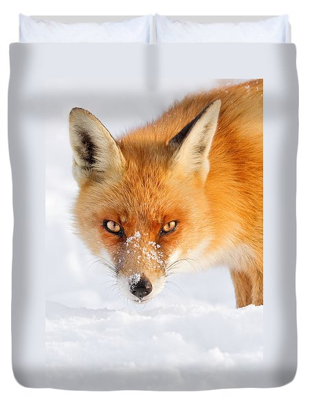 Red Fox In The Snow Duvet Cover by Roeselien Raimond
