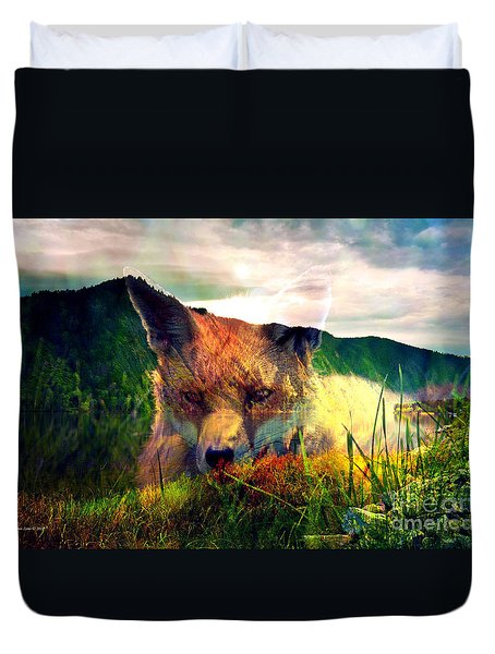 Red Fox In The Wilderness Duvet Cover by Annie Zeno