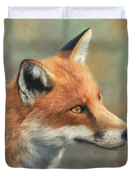 Red Fox Portrait Duvet Cover by David Stribbling