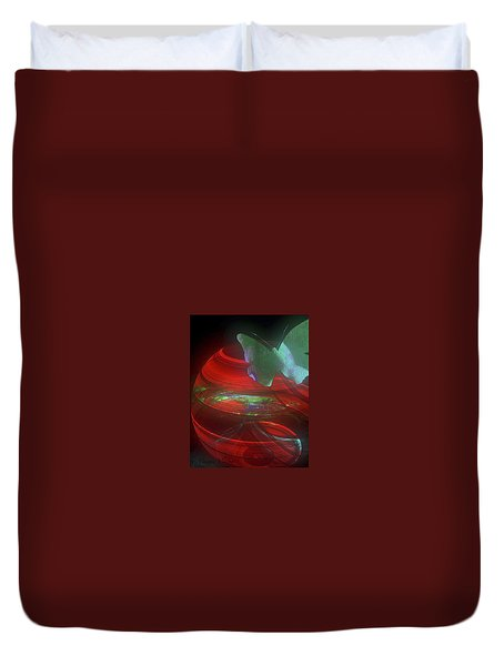 Red Fractal Bowl With Butterfly Duvet Cover