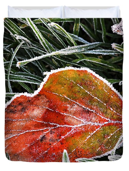 Red Frosty Leaf On Frozen Ground Duvet Cover