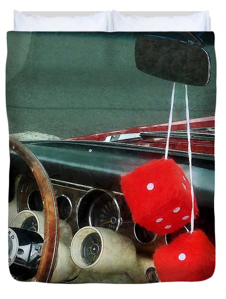 Red Fuzzy Dice In Converible Duvet Cover by Susan Savad