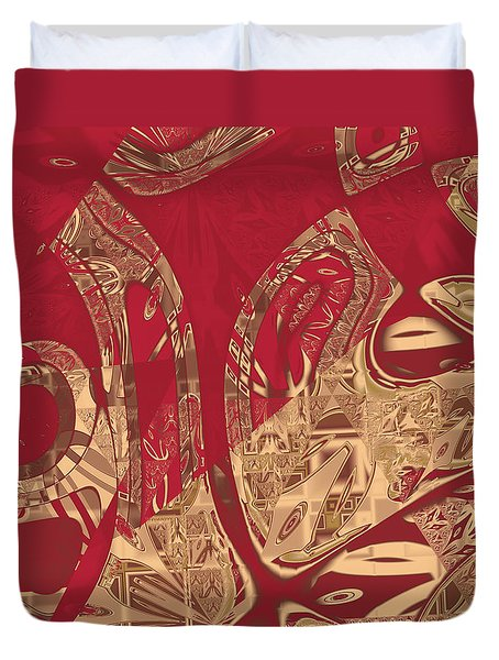 Red Geranium Abstract Duvet Cover