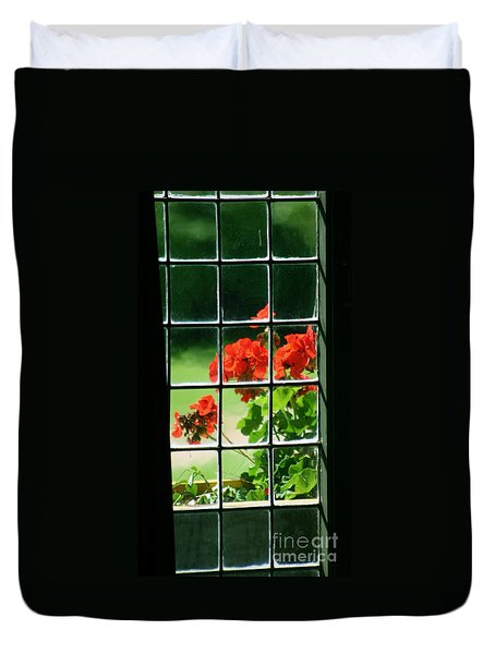 Red Geranium Through Leaded Window Duvet Cover
