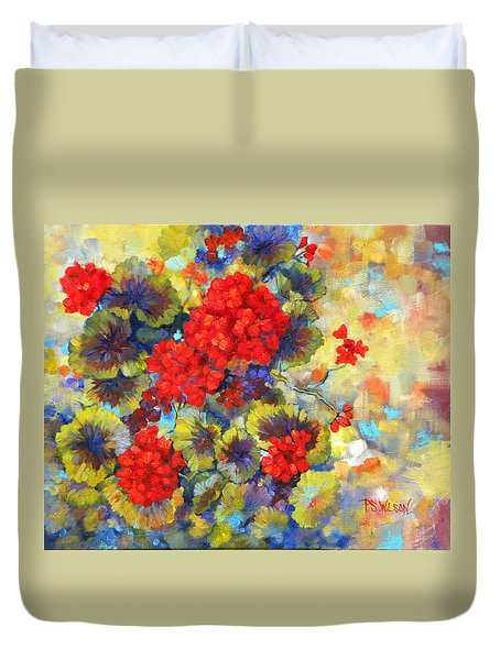 Red Geraniums II Duvet Cover by Peggy Wilson