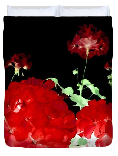 Red Geraniums Duvet Cover by Will Borden