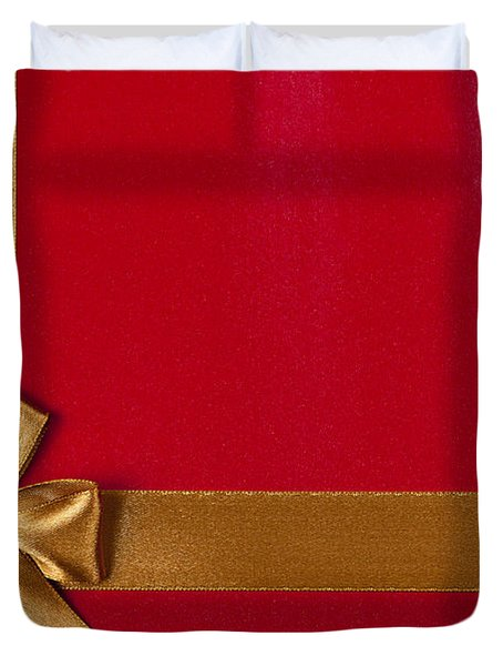 Red Gift Background With Gold Ribbon Duvet Cover