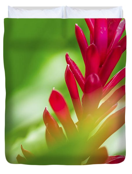 Duvet Cover featuring the photograph Red Ginger Bract by Leigh Anne Meeks