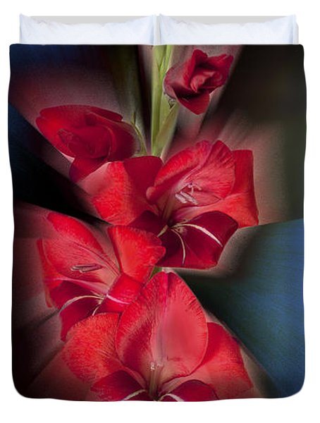 Duvet Cover featuring the photograph Red Gladiola by Mark Greenberg