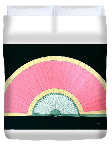 Red Gold Fan Duvet Cover