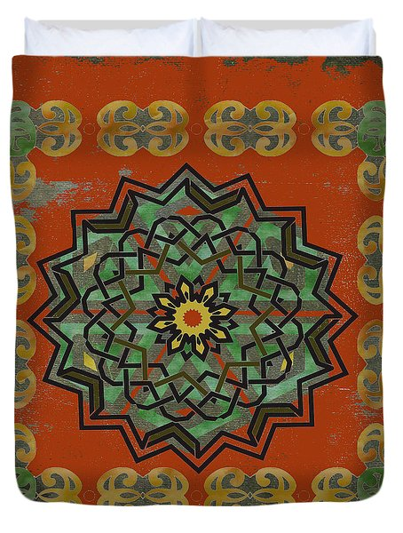 Duvet Cover featuring the painting Red Gold Framed Celtic Art by Kandy Hurley