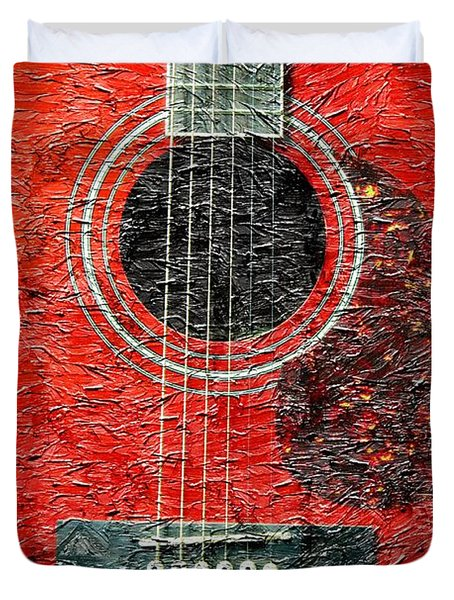 Red Guitar Center - Digital Painting - Music Duvet Cover by Barbara Griffin