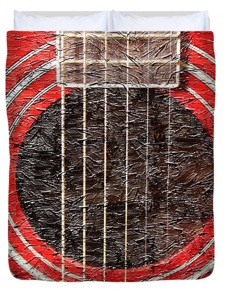 Red Guitar - Digital Painting - Music Duvet Cover by Barbara Griffin