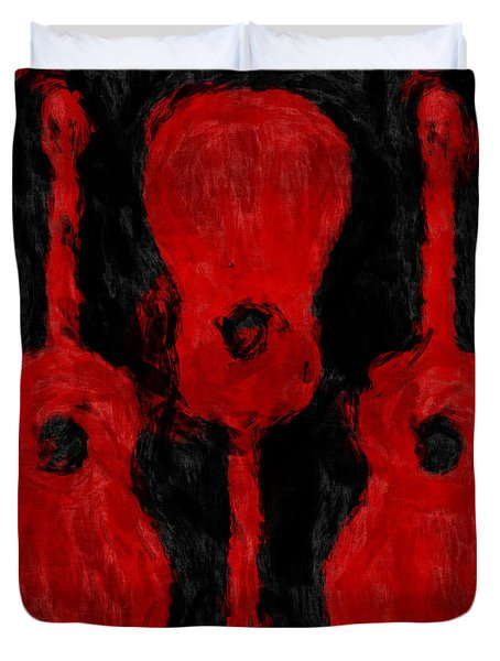 Red Guitars Duvet Cover by David G Paul