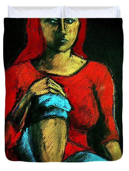 Red Hair Woman Duvet Cover