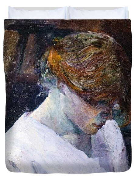Red-haired Woman In White Camisole Duvet Cover by Henri de Toulouse Lautrec
