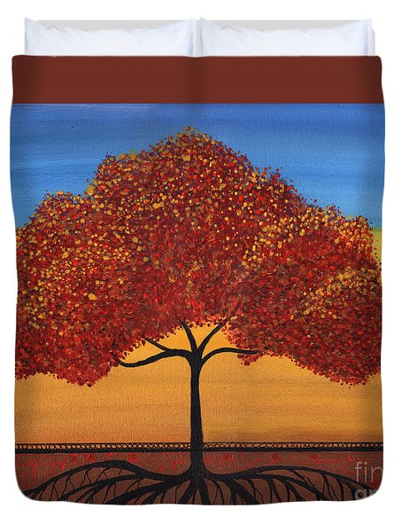 Red Happy Tree Duvet Cover