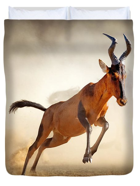 Red Hartebeest Running In Dust Duvet Cover