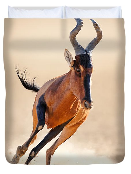 Red Hartebeest Running Duvet Cover