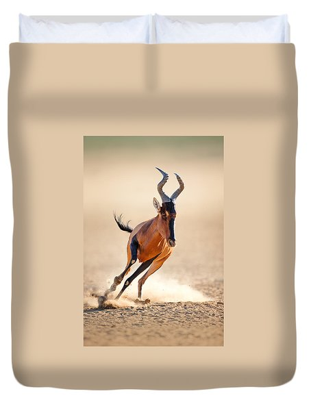 Red Hartebeest Running Duvet Cover by Johan Swanepoel