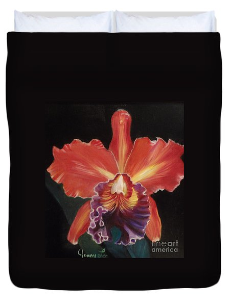 Red Hawaiian Orchid Duvet Cover