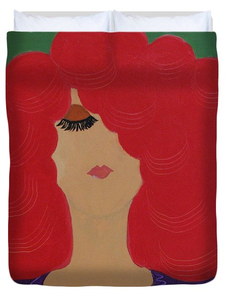 Duvet Cover featuring the painting Red Head by Anita Lewis