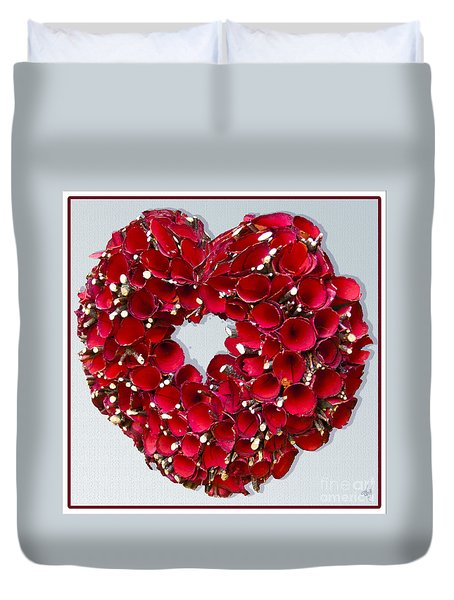 Duvet Cover featuring the photograph Red Heart Wreath by Victoria Harrington