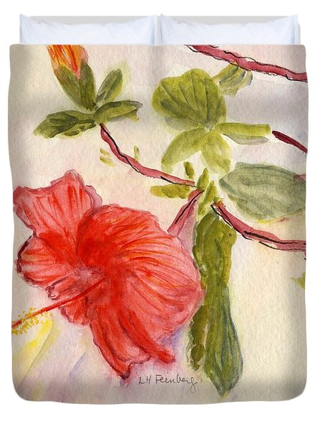 Duvet Cover featuring the painting Red Hibiscus by Linda Feinberg