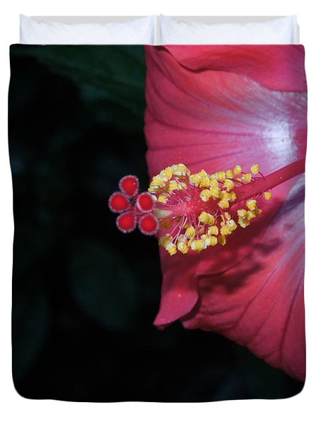 Duvet Cover featuring the photograph Red Hibiscus by Ron Davidson