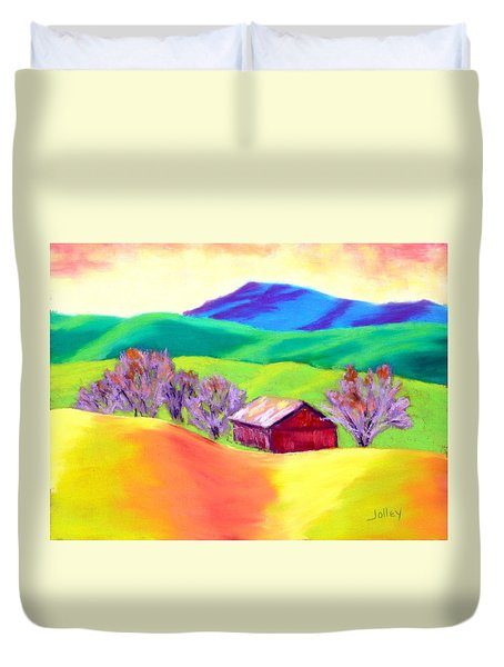 Duvet Cover featuring the painting Red Hill Barn by Nancy Jolley