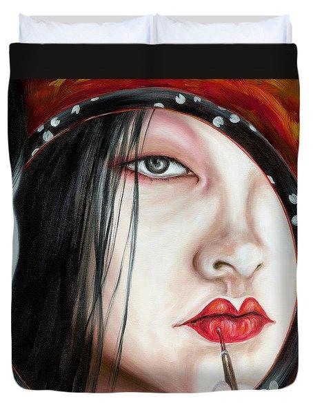 Red Duvet Cover by Hiroko Sakai