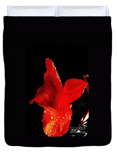 Duvet Cover featuring the photograph Red Hot Canna Lilly by Michael Hoard