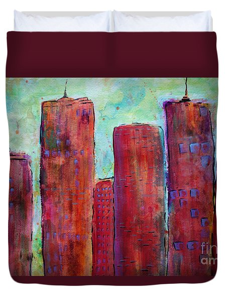 Red In The City Duvet Cover