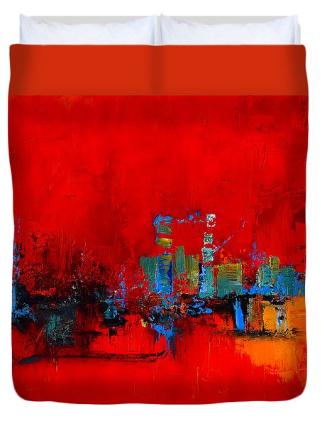 Duvet Cover featuring the painting Red Inspiration by Elise Palmigiani