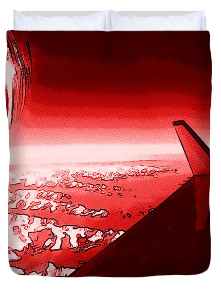 Duvet Cover featuring the photograph Red Jet Pop Art Plane by R Muirhead Art