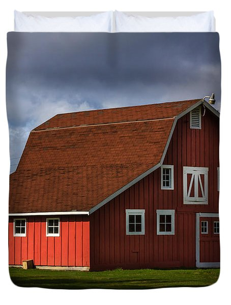 Duvet Cover featuring the photograph Red Kirsop Barn by Jean OKeeffe Macro Abundance Art