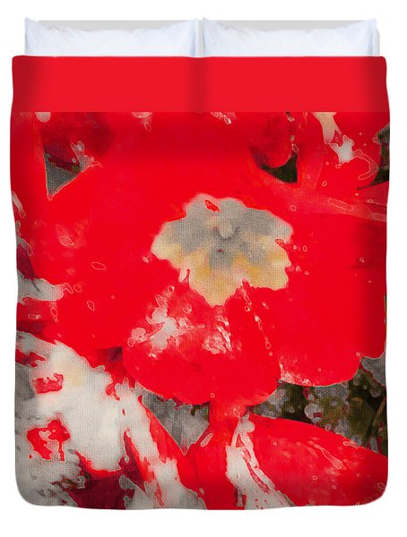 Red Lacquered Primroses Duvet Cover