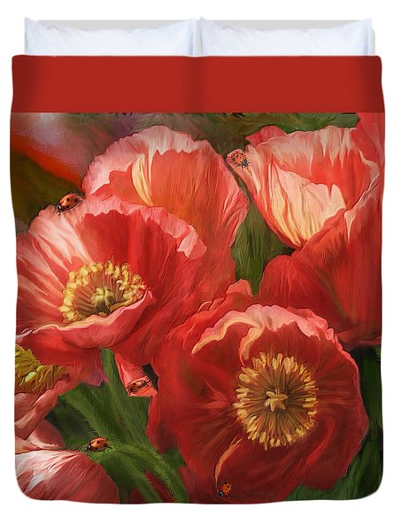 Red Ladies Of Summer Duvet Cover by Carol Cavalaris