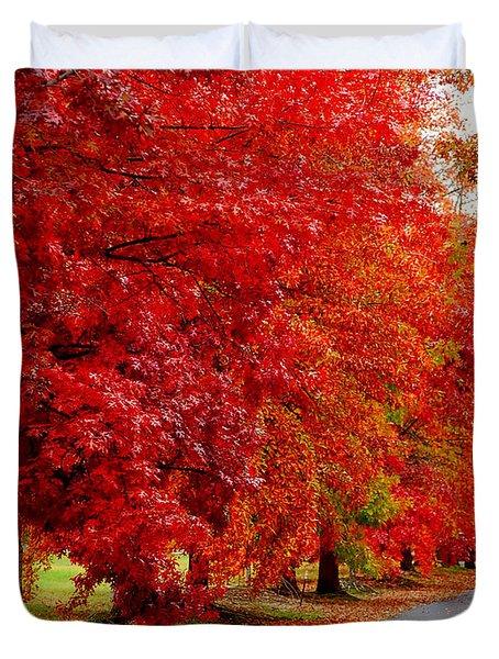 Red Leaf Road Duvet Cover