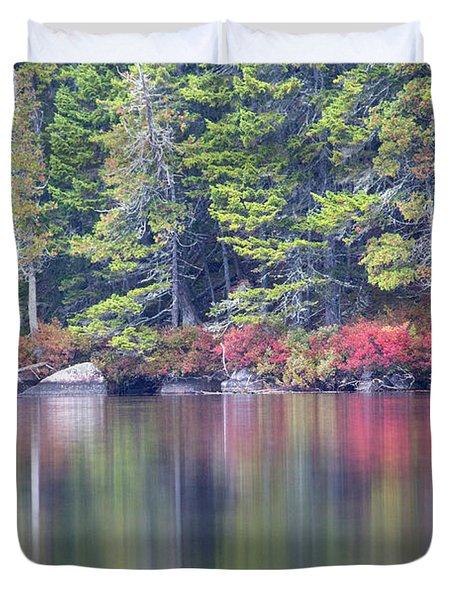 Red Leaved Shrubs Dot A Shoreline Duvet Cover