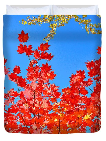 Duvet Cover featuring the photograph Red Leaves by David Lawson