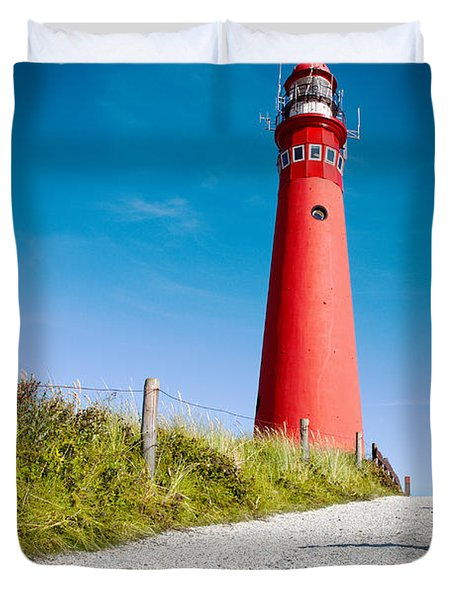 Red Lighthouse And Deep Blue Sky. Duvet Cover