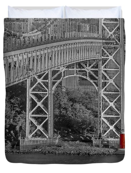 Duvet Cover featuring the photograph Red Lighthouse And Great Gray Bridge Bw by Susan Candelario