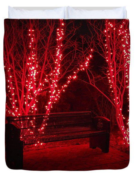 Red Lights And Bench Duvet Cover
