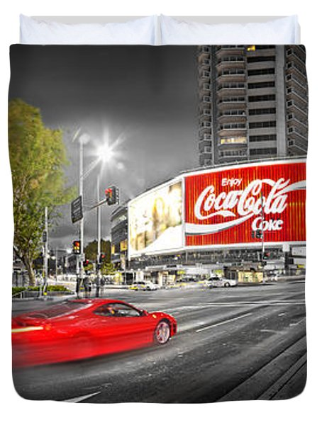 Red Lights Sydney Nights Duvet Cover