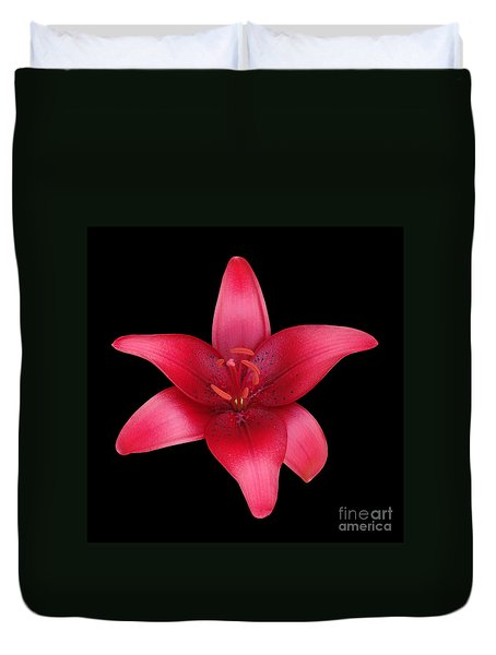 Duvet Cover featuring the photograph Red Lily by Judy Whitton