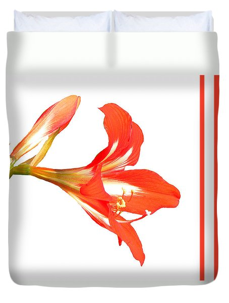 Duvet Cover featuring the photograph Red Lily by Rosalie Scanlon